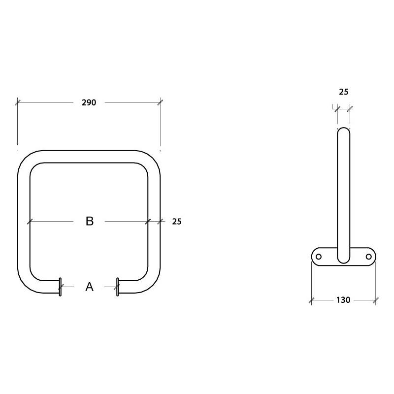 Metalowy uchwyt równoważni - kwadratowy