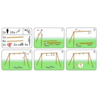 Zestaw montażowy do huśtawki pojedynczej na belkę kwadratową