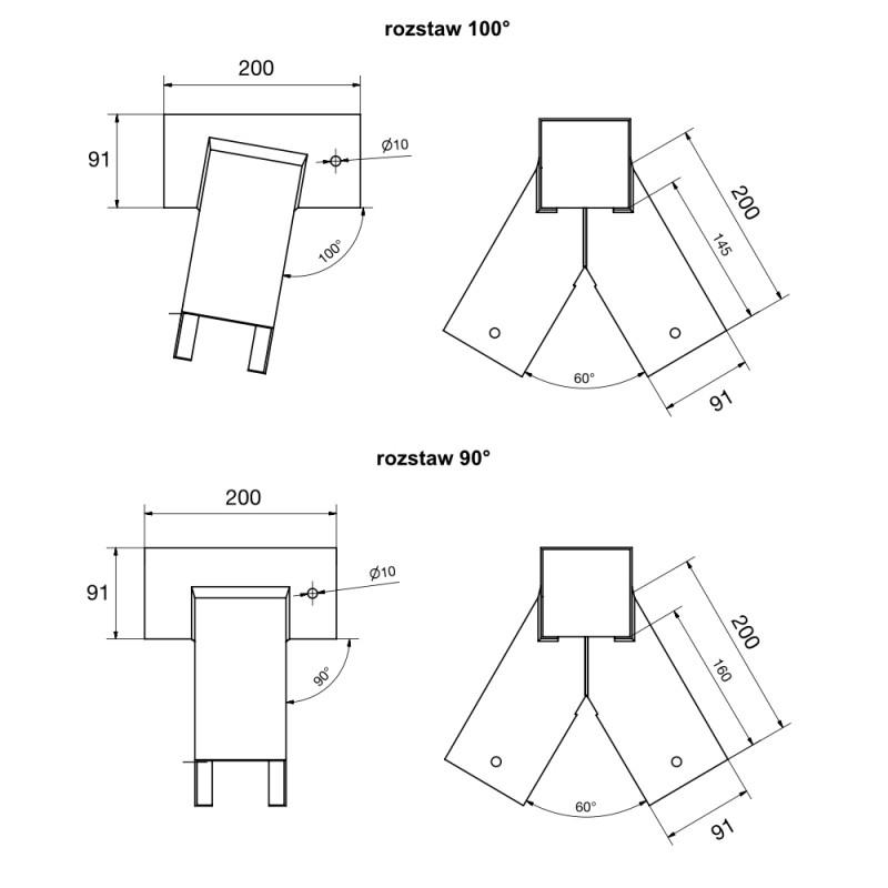 Zestaw montażowy podwójny łączniki 90x90, mocowania, kotwy, torx