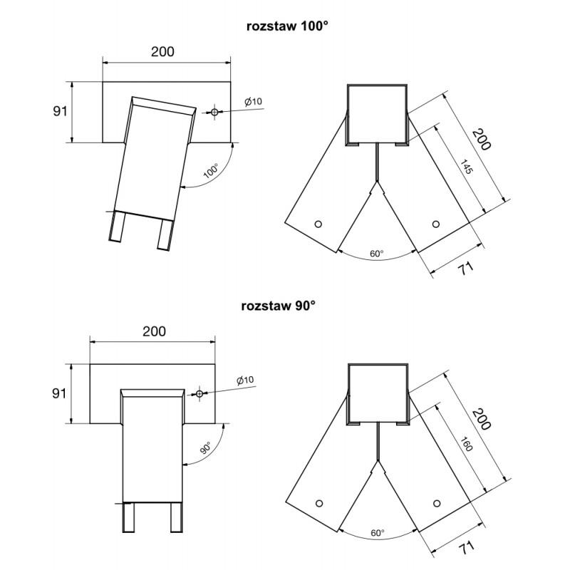 Zestaw montażowy podwójny łączniki 90x70, mocowania, kotwy, torx